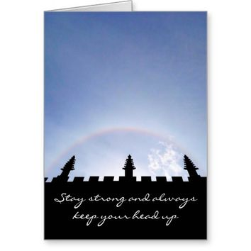Stay Strong Inspirational Sun Halo Over Oxford Greeting Card