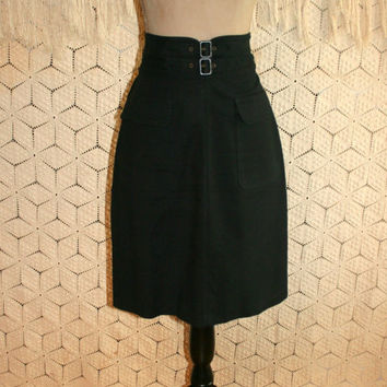 Vintage Black Cotton Skirt High Waist Midi Edgy Punk Goth Buckles Chunky Zipper Black Skirt Women Skirts Size 8 Skirt Medium Womens Clothing