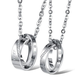TIDOO Jewelry Fashion 316L Stainless Steel His & Hers Matching Set Pendant Necklace Inlay Rhinestone Ring Pendant Neck Chain Torque For Couple Lover Party Wedding Anniversary Engagement = 1930076676