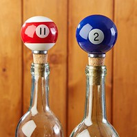 Pool Shark Billiard Ball Wine Bottle Stoppers - Set of 2