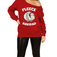 Funny Holiday Sweater Christmas Gift Idea For Her Merry Xmas Pullover Holiday Jumper Feliz Navidad Off The Shoulder Slouchy Sweatshirt-SA514