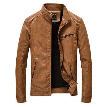 Mens Stand Collar Motorcycle Vegan Leather Jacket