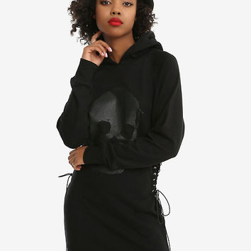 Black Glitter Skull Corset Side Hoodie Dress