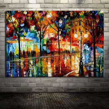 Handpainted Street Scenery Paintings Modern Home Decor Wall Art Picture Hand Made Palette Knife Landscape Oil Painting On Canvas