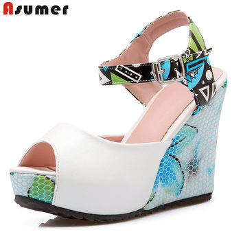 Big size 34-43 new fashion women summer peep toe platform wedding shoes woman sexy  sandals female shoe wedges high heels