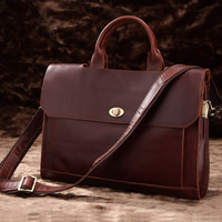 Large Leather Satchel Selvaggio