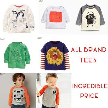 2017 CLEARANCE SALE Brand Cheap Boys Girls T Shirt Tops Designer Toddler Baby Boys Girls Clothes Cotton Long Sleeve Tee Shirt