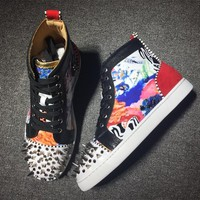 Cl Christian Louboutin Lou Spikes Style #2181 Sneakers Fashion Shoes