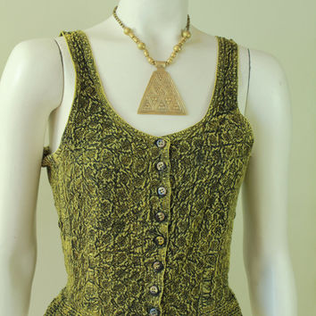 90s - Hippie - Boho - Yellow & Black - Ethnic Indian - Floral Embroidered - Smocked Stretch - Button Up - Tank Top - Blouse - Grunge Revival