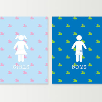 Kids Bathroom Wall Art - Kids Bath Decor - Children's Bathroom Art - Boys & Girls Restroom Signs - Rubber Ducky Bathroom - Bathroom Prints