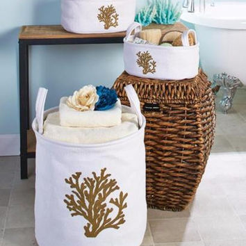 Storage Bin Bag Set Coral Ocean Sea Theme Decor Nesting Collapsible Handles NEW