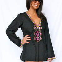 BOHEMIAN BEACH CLUB EMBROIDERED TUNIC BEACH DRESS/COVER BLACK PINK NWT $48!