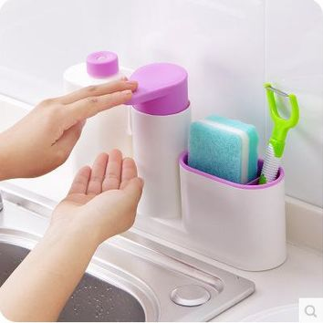 3 in1 Kitchen and Bathroom Multi-function Liquid Soap Dispenser Sink Soap Dispenser and Toothbrush Organizer