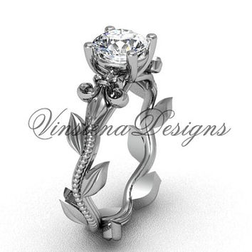 Platinum leaf and vine, Fleur de Lis engagement ring VD208223