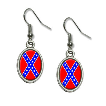 Rebel Confederate Flag Dangling Drop Oval Earrings