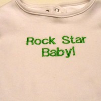 Embroidered  Rock Star Baby Bib