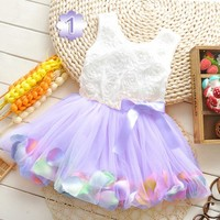 Sleeveless Posh Lavender Net Party Dress for Toddler Girl