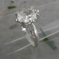 Faceted Solitaire Cubic Oval 10x8 Stone 925 Sterling Silver Ring CC-07037
