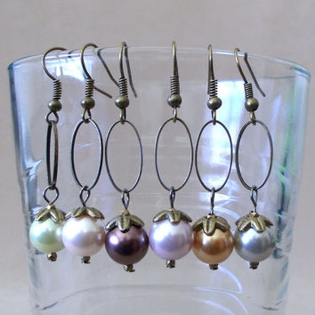 Handmade Colored Pearls & Bronze Oval Hoop Dangle Earrings, Simple Elegance, Classic Style, Fashion Jewelry, Unique Look, Modern Appeal, Fun