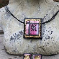 Handmade Jewellery Set- Unique and Unusual Pink and Gold Pendant and Earrings