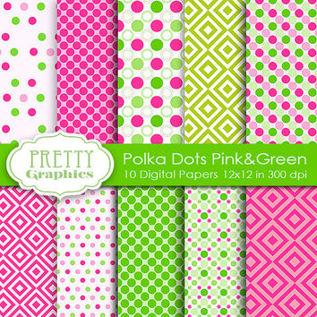 DIGITAL PAPERS -Polka Dot Pink&Green - Commercial Use- Instant Downloads - 12x12 JPG Files - Scrapbook Papers - High Quality 300 dpi