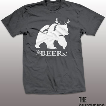 Beer Shirt - bear deer funny t-shirt, mens womens gift, humor, drinking tee, tshirt, ladies, guys, hunting, alcohol, party, animal lover