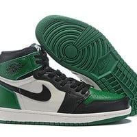 "[ Free  Shipping ] Air Jordan Retro 1 High OG   ""Pine Green"" 555088-302 Basketball Shoes"