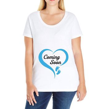 coming soon baby boy maternity design Ladies Curvy T-Shirt