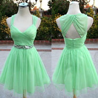 Green A-line Short Sequin Prom Dresses, Homecoming Dresses
