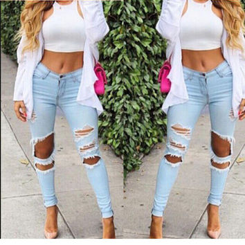 Women's slim high Waisted ripped boyfriend holes Jeans a13615