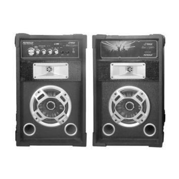 Disco Jam Dual Bookshelf Stereo Speaker System, USB/SD/MP3 Streaming, FM Radio, Flashing DJ Party Lights