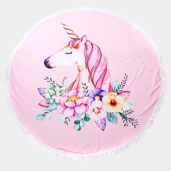 Unicorn Round Beach Terry Towel