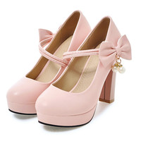 Lolita bow lace high heels pumps women ankle strap thick bottom Candy colors wedding shoes ladies Nightclub sex pumps Mary Janes