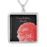 Customized Necklace Coral Pink Rose 80th Birthday