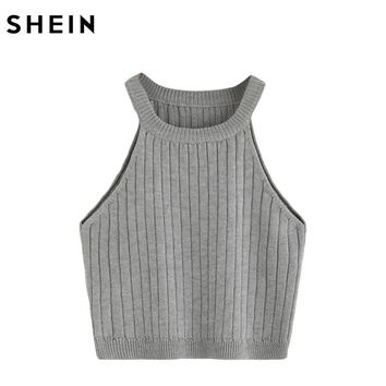 Ladies Summer Vest Top Ladies Casual Tops Plain Round Neck Sleeveless Knitted Fitness Crop Tank Top