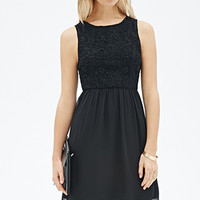 LOVE 21 Embroidered Lace A-Line Dress Black