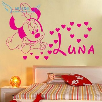 Free shipping home decoration Creative DIY cute Mickey Mouse Minnie baby Custom Kids Name baby for kids rooms wall stickers