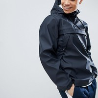 New Look Overhead Rain Jacket With Half Zip In Navy at asos.com