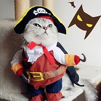 Funny Pirate Cat Clothes for Cat Pet Costume Suit Dog Clothing Corsair Dressing up Clothes for 2017 New Chihuahua plus Hat 3