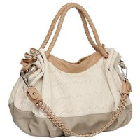 MG Collection DARBY Dual-tone Beige Textured Hobo Handbag w/Décor Chain Strap