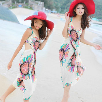 Summer Women Sexy Beach Dress Deep V Wrap Chiffon Swimwear Bikini Set Cover Up Sarong Bohemian Casual Dresses