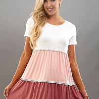 Tiers to You Dress - Pink and Coral