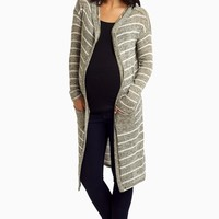 Olive-Striped-Knit-Hooded-Long-Cardigan
