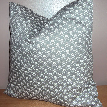 18x18 Gray and White Skull and Bones Print Decorative Pillow Cover