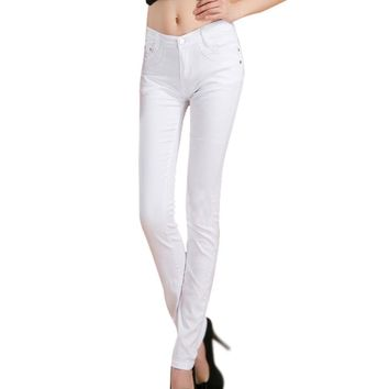 Summer White Fashion Female Stretch Candy Colored Pencil Women's Pants Sexy Elastic Cotton Jeans Pants Denim Trousers