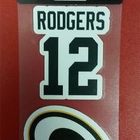 """NFL Green Bay Packers Aaron Rodgers Perfect Cut Decal 4"""" x 8"""" Sheet  w/ 2 Decals"""