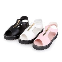 Women Sandals Zipper Peep Toes Low-heeled Shoes
