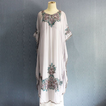 Fancy Gray Caftan Maxi Dress Moroccan Evening Wear Maxi Gold Embroidery Dress Dubai Abaya Floral Sequin Maternity Dress