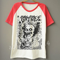 Grimes T-Shirt Indie Rock T-Shirt Skull T-Shirt Short Sleeve Shirt Short Baseball Shirt Jersey Tee Unisex T-Shirt Women T-Shirt Men T-Shirt