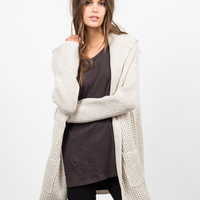 Hooded Chunky Knit Cardigan
